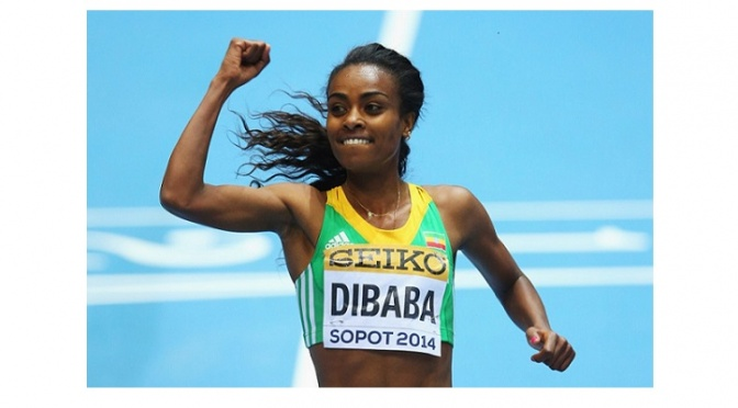 SOPOT, POLAND - MARCH 09:  Genzebe Dibaba of Ethiopia celebrates winning the gold medal in the Women's 3000m final during day three of the IAAF World Indoor Championships at Ergo Arena on March 9, 2014 in Sopot, Poland.  (Photo by Julian Finney/Getty Images)